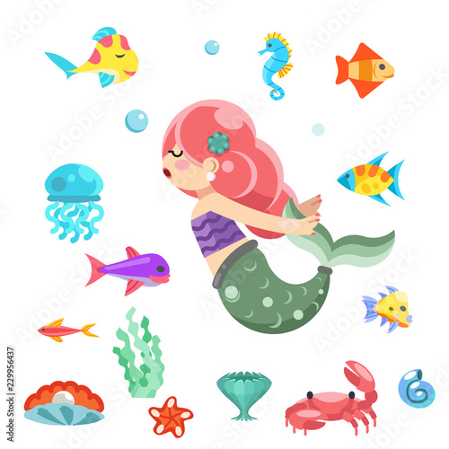 Photographie  little cute mermaid swimming under the sea fishes animals flat design vector