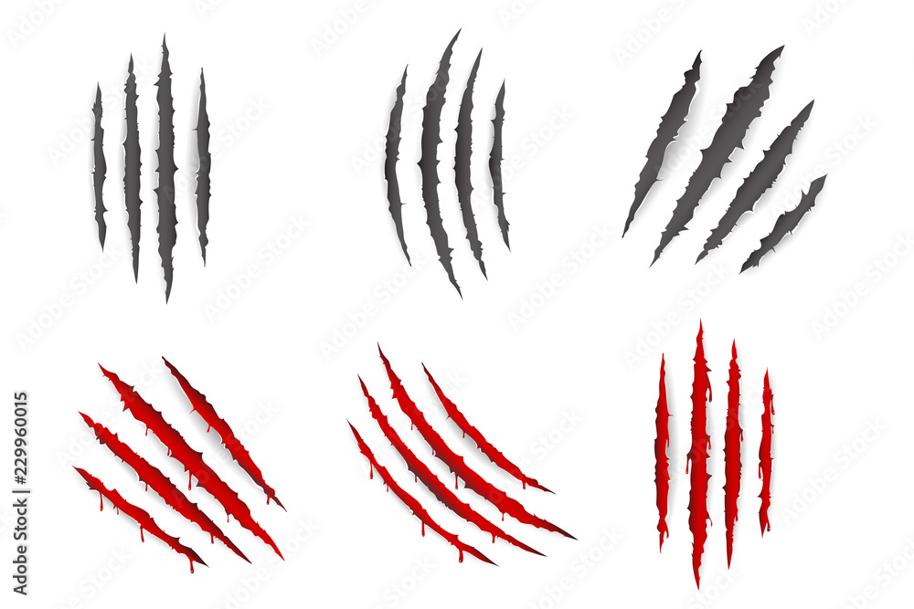 Fototapety, obrazy: Monster animal claws bleeding scratches torn material blood set isolated design vector illustration