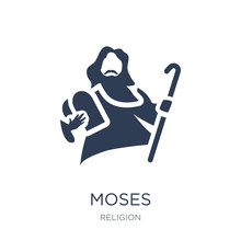 Moses Icon. Trendy Flat Vector Moses Icon On White Background From Religion Collection