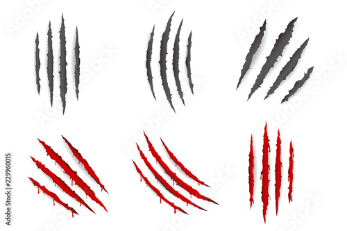 Monster animal claws bleeding scratches torn material blood set isolated design Fototapete