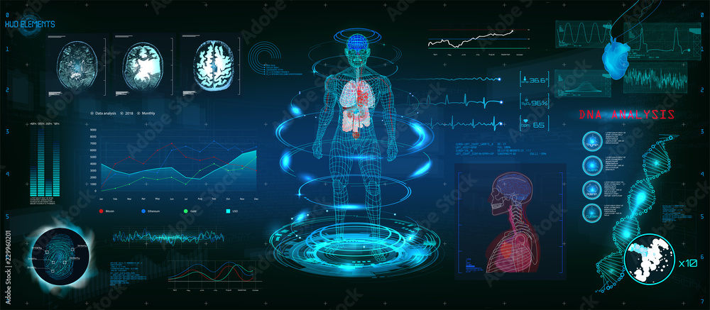 Fototapeta MRT futuristic scanning in HUD style design, Human body, organs and brain scan with pictures. Hi-tech elements. Virtual graphic touch HUD UI with illustration of DNA formula, cardiogram and data chart