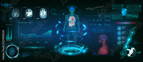Obraz MRT futuristic scanning in HUD style design, Human body, organs and brain scan with pictures. Hi-tech elements. Virtual graphic touch HUD UI with illustration of DNA formula, cardiogram and data chart - fototapety do salonu