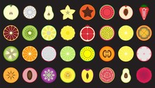 Set Of Icons Fresh And Colorful Fruits And Berries Cut In Half, Isolated, Apple, Coconut, Pear, Carambola, Papaya, Watermelon, Peach, Strawberry, Tangerine, Kiwi, Jackfruit, Pineapple, Lime And Others