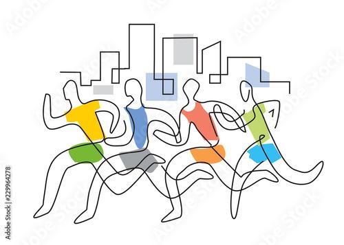 Fotomural Running race marathon,line art stylized