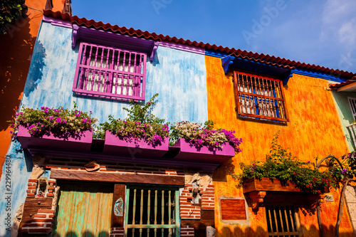 Foto op Aluminium Zuid-Amerika land The colorful colonial houses at the walled city of Cartagena de Indias
