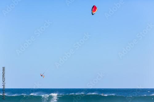 Kite Surfing Surfer Flying Ocean Action