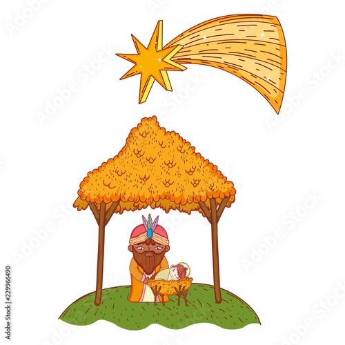 Foto Christmas nativity scene cartoon