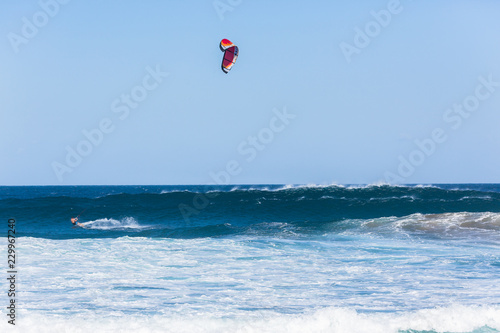 Kite Surfing Surfer Flying Ocean Action