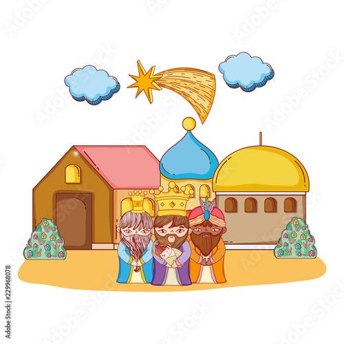 Leinwand Poster Christmas nativity scene cartoon