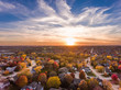 canvas print picture - Sunset in the fall over the suburbs