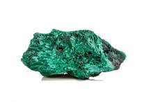 Macro Mineral Stone Plisoviy, Plush, Satin Malachite On A White Background