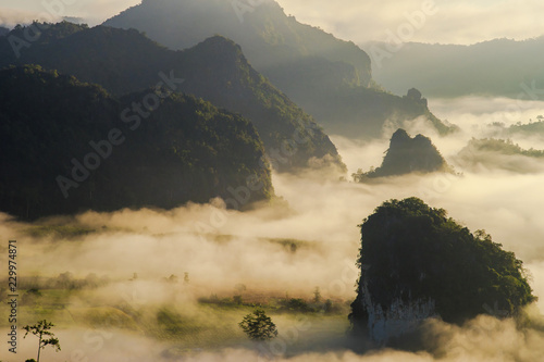 Spoed Foto op Canvas Beige scenic mountain landscape and fog on the hill in Phu Lung Ka forest park during the sunrise, natural landmark located in Phayao province, Thailand