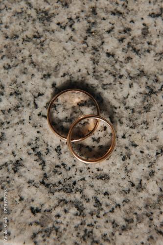 Fotografie, Obraz  Wedding rings on table