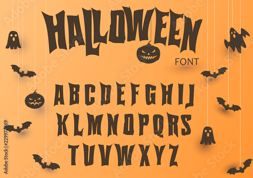 Valokuvatapetti Halloween font, Original Typeface, Scary creepy alphabet, Dirty Letters, for holiday party