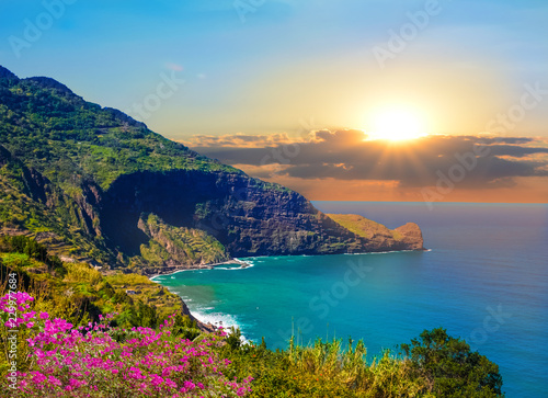 Beautiful coastline of Madeira island at sunset, seascape background - Portugal