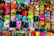 Leinwanddruck Bild - Street sell of handcrafted traditional Wayuu bags at the walled city of Cartagena de Indias