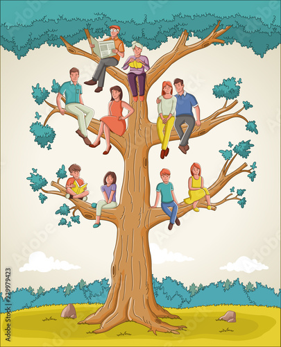 Family tree with people. Cartoon family on genealogical tree. Canvas Print