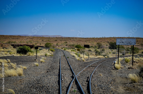 Tuinposter Spoorlijn Weiche in Namibia
