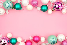 Modern Pastel Christmas Bauble Double Border Over A Light Pink Background
