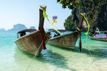 Thai Wooden Boats On An Island...