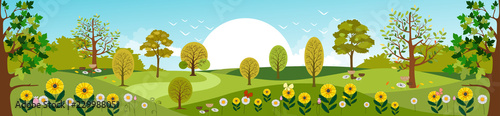 Garden Poster Pool Panoramic of Countryside landscape in Spring, Vector illustration of horizontal banner of Summer landscape mountains with green field and summer flowers
