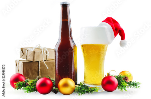 Foto op Aluminium Bier / Cider Beer in bottle and in glass with Christmas decoration