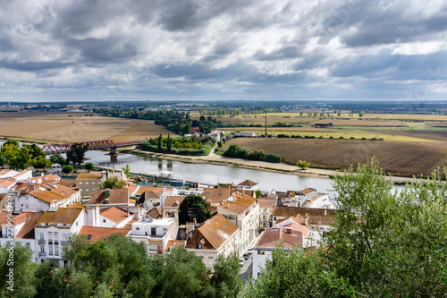 Fotografie, Tablou The banks of the Sorraia River which flows into the Tagus River on the banks of the Sorraia River, in Portugal, Ribatejo Region, Santarem, Coruche