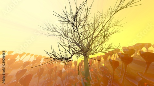 Fotobehang Geel Mountain, fog, mist abstract meadow field full of strange vegetation in form of wine glasses and lit by bright sun god rays with lonely tree without leaves. Unusual 3d illustration. Travel and camping