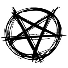 Hand Drawn Inverted Pentagram