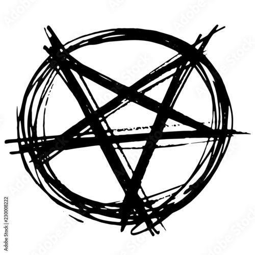 Photo Hand Drawn inverted pentagram