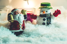 Santa And Snowman,in Merry Chr...