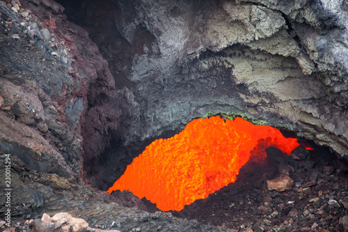 Spoed Fotobehang Vulkaan Red lava close up of the volcano Tolbachik. Russia. Kamchatka