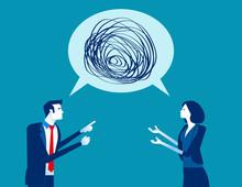 Business People Talking Nonsense Speech. Concept Business Vector, Bubble Speech, Meeting, Communication.
