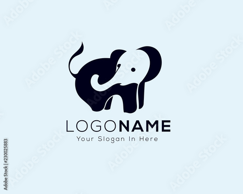 elephant logo with trunk negative space in body Wallpaper Mural