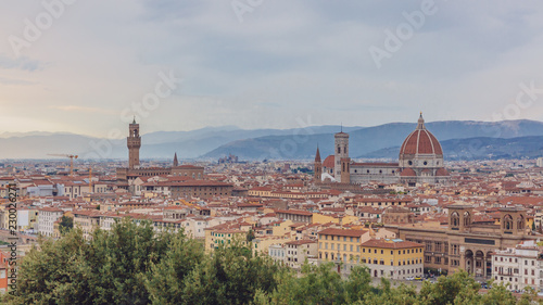 View of the historic city of Florence, Italy, viewed from Piazzale Michelangelo
