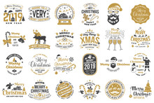 Set Of Merry Christmas And Hap...
