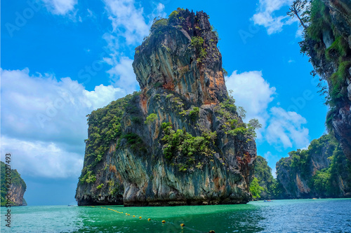Amazing scenery natural landscape of James Bond island Phang-Nga bay, Koh Panyee, Water tours travel nature Phuket Thailand, Tourism beautiful destination famous place Asia, Summer holiday vacation