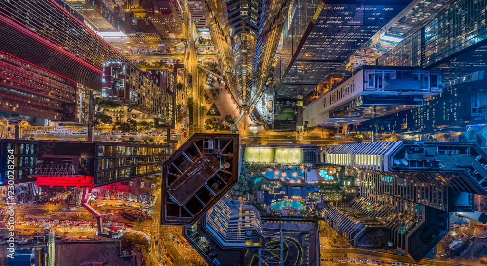 Hong Kong Skylines at night from aerial view