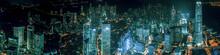 Hong Kong Skylines At Night From Aerial View