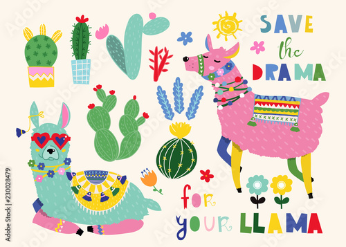 Save the drama for your llama. Cute llamas and cacti. Colored vector set. All elements are isolated