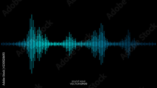 Fototapeta Vector sound wave in blue green color light dynamic flowing on black background in concept of music, sound, science or technology. obraz