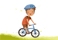 Boy Riding Bike Little Boy A Bicycle On Green Pasture. Child Cycling Outdoors In Helmet. Posture Kid Riding Bikes In Nature. Cartoon Riding Bicycle On Path. Vector Illustrations Isolated