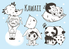 Kawaii Kids And Animals. Hand Drawn Vector Set. All Elements Are Isolated