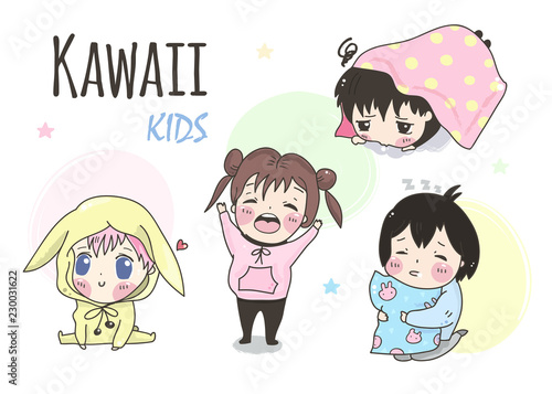 фотография Kawaii kids. Hand drawn vector set. All elements are isolated