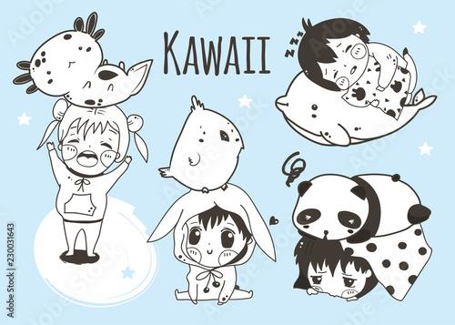 Kawaii kids and animals Canvas Print