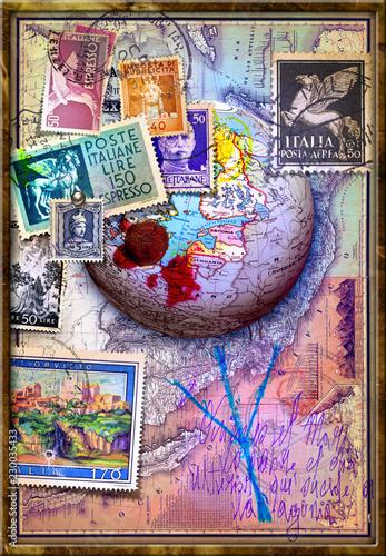 Sfondo vintage con mappamondo e vecchi francobolli