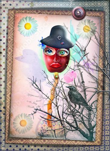 Staande foto Imagination Spaventapasseri delle fiabe con corvo nero
