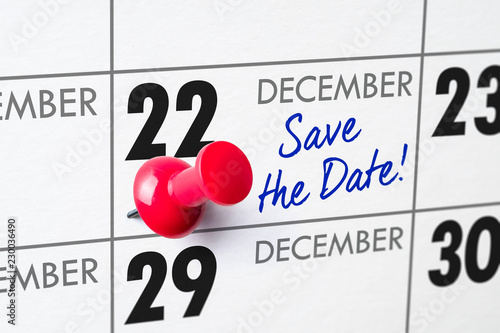 Fotografia  Wall calendar with a red pin - December 22