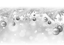 Silver Christmas Background Wi...