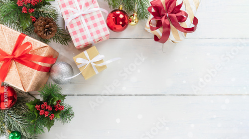 Christmas Tree Top View.Top View Of Christmas Tree And New Year Holidays Gift Box